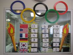 Olympic Medal Count Board (We had a participant responsible for updating it daily)