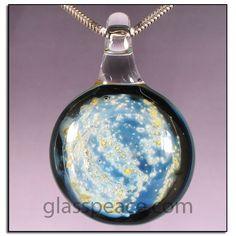 Galaxy Glass Pendant - Boro Lampwork Bead Hand Blown by GlassPeace $20.95