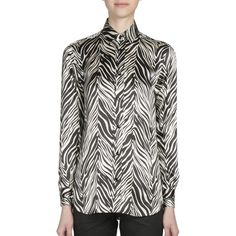 Saint Laurent Satin Zebra Print Blouse (€1.185) ❤ liked on Polyvore featuring tops, blouses, apparel & accessories, animal print tops, button front blouse, long sleeve satin blouse, zebra print blouse and animal print blouse