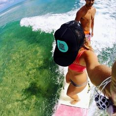 Two is better than one - Kira tandem surfing in her Lucky We Live Hawaii Trucker hat Soul Surfer, Surfer Style, Surfing Pictures, California Surf, Summer Swimwear, Surfs, Surf Girls, Girl With Hat, Summer Baby
