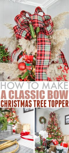 In this post I'll show you how to make a bow Christmas tree topper! This is an easy and elegant solution that you can easily customize. Diy Christmas Tree Topper, Xmas Tree Toppers, Diy Tree Topper, Black Christmas Trees, Christmas Bows, Christmas Tree Themes, Christmas Crafts, Merry Christmas, Christmas Stuff