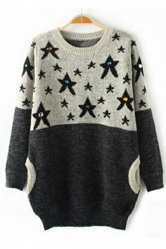 """""""I don't know anything with certainty, but seeing the stars makes me dream."""" ― Vincent van Gogh Quote Star Printi Rhinestone Pullover Sweater"""