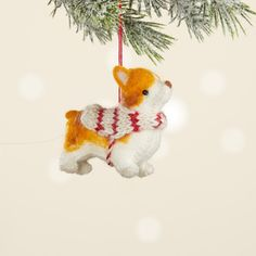 """Corgis just got cuter! This hand-felted furry friend with black bead eyes wears a little hand-knitted coat, and is a must-have for any dog-lover's holiday tree. Grab one for each of your pups! Comes with attached hanging loop. Dimensions: 3 1/4""""h. Cute Corgi, Corgi Dog, Holiday Tree, Holiday Gifts, Holiday Decor, Knitted Coat, Green Gifts, Corgis, Gift Certificates"""