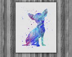Dog Chihuahua watercolor, Dog Chihuahua Art Print, Dog Chihuahua art, Dog Print