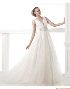 2015 A-linie V-ausschnitt Schlichte Brautkleider aus Softnetz mit Perlenstickerei