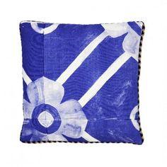 Bonnie and Neil Flower Tile Blue Cushion 50cm | Bonnie and Neil – Salt Living or online at www.saltliving.com.au #saltliving #bonnieandneil #screenprinting #linen #cushion