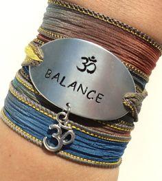 Balance Silk Wrap Bracelet Yoga Jewelry Namaste Om Ohm Unique Gift For Her or Him Teacher Christmas Stocking Stuffer Under 50 Item K61 on Etsy, $38.95