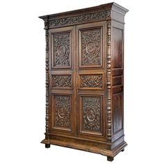 French Renaissance Style Carved Oak Armoire | From a unique collection of antique and modern wardrobes and armoires at https://www.1stdibs.com/furniture/storage-case-pieces/wardrobes-armoires/