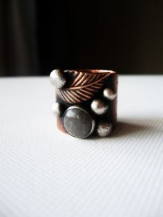 Wide Band Copper Ring ... Gray Silver Quartz Ring Leaf Ring Rustic Sterling Silver Balls. $140.00, via Etsy.