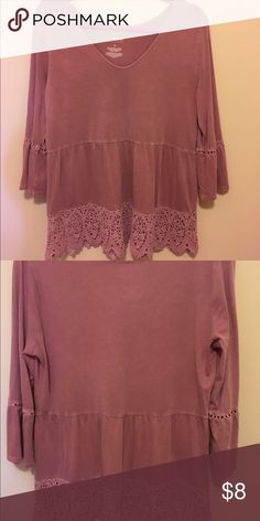 Dusty Rose top with lace embellishment 3/4 sleeves with lace at bottom and sleeves, a line waist. Cotton. Worn once. Sonoma Tops