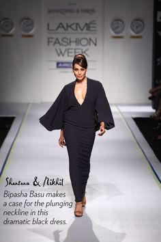 black fitted maxi dress, deep long v-neck.....Bipasha Basu at Lakme Fashion Week | fashion trends