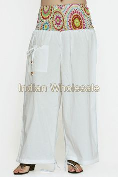 Indian Printed Aladdin Baggy Women Cotton Harem Pants Trousers IWUS2014WH #Handmade #CasualPants