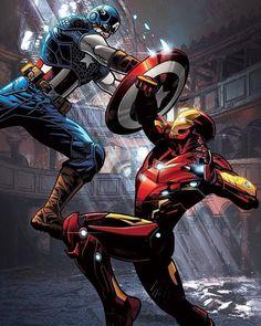 Captain America v Iron Man Comics Marvel Avengers, Marvel Man, Marvel Heroes, Marvel Girls, Arte Dc Comics, Marvel Comics Art, Marvel Logo, Iron Man Wallpaper, Marvel Wallpaper