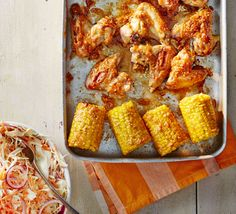 Roast cheap chicken wings and frozen corn cobs with honey, peanut butter and sesame seeds for perfect party food on a budget Roasted Chicken Wings, Oven Chicken, Baked Chicken, Roast Chicken, Sticky Chicken, Party Food On A Budget, Dinner On A Budget, Dinner Ideas, Quick Healthy Breakfast