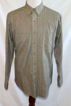 Viyella Mens Large Glen Plaid Button-Front Long Sleeve Wool and Cotton Black Red #Viyella #TheSmartShoppe