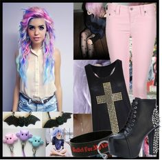"""""""Pastel Goth"""" by onedirectionlover99-872 ❤ liked on Polyvore"""