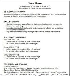 resume for skills resume format the functional resume - Work Resume Template