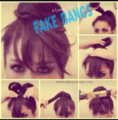 Easy hair bun with fake bangs tutorial. I don't need the fake bangs but sometimes don't know what to do with the loose end that never stays tucked in. Five Minute Hairstyles, Easy Bun Hairstyles, Pretty Hairstyles, Wedding Hairstyles, Hairstyles Men, Fringe Hairstyles, Fake Bangs, Cut Bangs, Bangs Tutorial