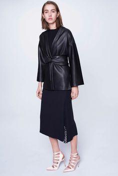 Adam Lippes Pre-Fall 2015 Fashion Show. Black leather kimono sleeve jacket.