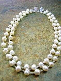 Beaded crochet pearl necklaces Fresh Cotton by 3DivasStudio