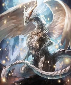 Holywing_Dragon: Long ago, a dragon cooperated with the gods to seal demons behind a magic barrier. A mass of white an glittering beauty, the dragon brought peace to the land. Mythical Creatures Art, Mythological Creatures, Magical Creatures, Fantasy Kunst, Dark Fantasy Art, Fantasy Artwork, Arte Robot, Fantasy Beasts, Dragon Artwork