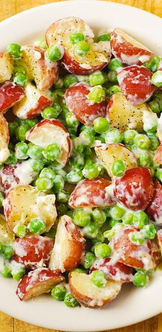 Creamy Parmesan Garlic Potatoes and Peas - perfect as a Thanksgiving, Christmas Side Dish Recipe.