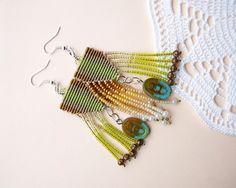 Unique micro macrame earrings  Tassel Chartreuse por MartaJewelry