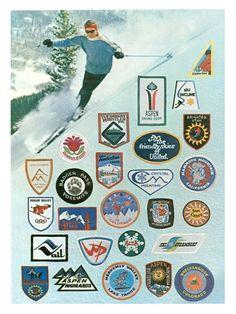 Vintage Ski Patches Poster 18 x 24