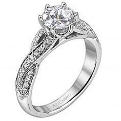 """""""Calla"""" Solitaire Twisted Shank Diamond Engagement Ring"""