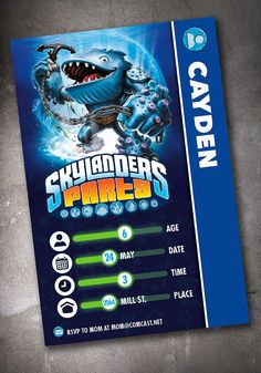 Skylander Birthday Invitation 4x6 Thumpback by DenimGraphics, $15.00