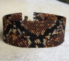 Snake Skin Peyote Cuff Bracelet by CharmedGifts on Etsy, $36.00