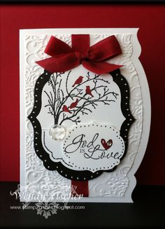 God is Love - love this card. Very classy design with mixture of shapes and textures. Black, white and red add to the elegance of the design.