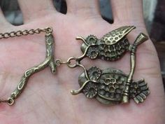 two owls pendant  and tree branch necklace by qizhouhuang on Etsy