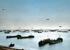 2 Allied ships, boats and barrage balloons off Omaha Beach after the successful D-Day invasion, near Colleville-sur-Mer, Normandy, France on June 9, 1944. (Photo by Galerie Bilderwelt/Getty Images)