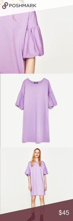 Zara mauve colored puff sleeves dress Love love color.. very pretty shade of purple...100% cotton Zara Dresses