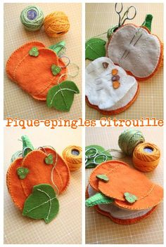 Felt Pumpkin needle book