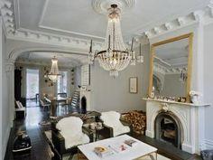 grand molding, decorative ceiling, marble mantle, huge victorian gilt mirror, original plaster