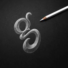 'g' work in progress, white pencil on black paper, lettering, hand-lettering / typography & lettering Types Of Lettering, Script Lettering, Calligraphy Letters, Brush Lettering, Lettering Design, Caligraphy, Logo Design, Typography Love, Vintage Typography