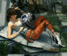 Beautiful art of Chell and Wheatley from Portal 2.