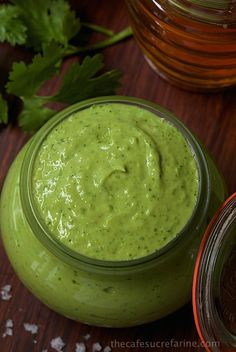 A delicious, fresh, healthy condiment made with fresh avocado and Greek yogurt. Sub coconut yogurt and coconut cream for dairy products. Avocado Crema, Fresh Avocado, Avacado Cream Sauce, Creamy Avocado Sauce, Avocado Dip, Avocado Toast, Sauce Recipes, Cooking Recipes, Healthy Recipes