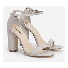 Justfab Heeled Sandals Elena ($40) ❤ liked on Polyvore featuring shoes, sandals, grey, heeled sandals, ankle strap sandals, ankle tie sandals, platform sandals and high heel platform shoes