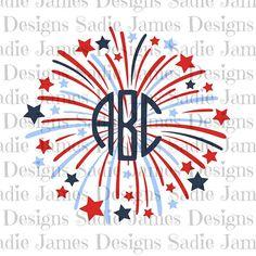 4th of July Firework Monogram SVG, cricut & silhouette cutting file.