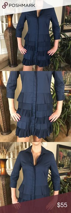 BCBGMaxAzria Ruffled shirt dress Talk about the perfect dress! This BCBG is gorgeous and features a hidden button up the front, 3/4 sleeve, rows and rows of ruffles and in great condition. Great for in between season BCBGMaxAzria Dresses
