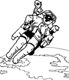 Omalovánka Astronaut - Vesmír - k vytisknutí, pro děti k vybarvení zdarma ke stažení