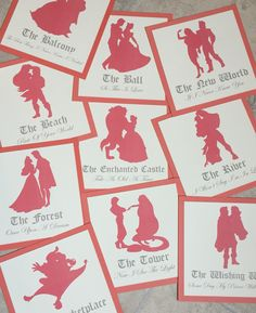 Disney Couple Silhouette Table Name Cards