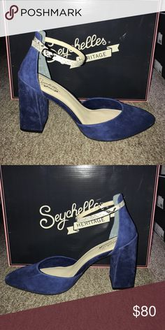Seychelles Gaggle heel A new take on a blue suede shoe! Indigo suede heel with pointed toe and faux snake skin printed ankle strap. Block heel. Seychelles Shoes Heels