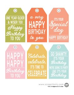 free printable birthday tags for gifts and goodies