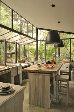 Fantastic kitchen makes you feel like you're outside. Graine & Ficelle is a luminous farmhouse transformed into a charming bed and breakfast by the owners, set in the countryside.