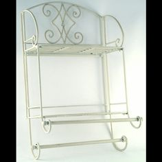 white metal vintage wall mounted towel rail and shelves at Divine Interiors and Gifts