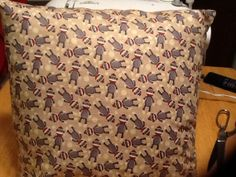 Sock monkey throw pillow. Back is solid tan. by MawmaRosesCrafts, $15.00